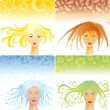Four season women — Vector de stock #4905989