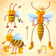 Three happy bees — Imagen vectorial