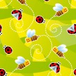 ストックベクタ: Bees and ladybugs seamless pattern