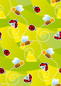 Bees and ladybugs seamless pattern — Vector de stock