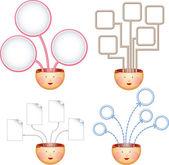 τέσσερις ιδέες διαγράμματα — Διανυσματικό Αρχείο