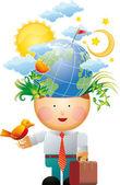 Milieu gedachten — Stockvector