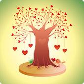 Starý strom lásky — Stock vektor