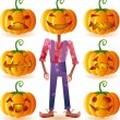 Stock Vector: Seven pumpkins and one scarecrow