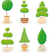 Jardín árboles - set 1 — Vector de stock
