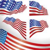 Rüzgarlı abd bayrakları — Stok Vektör