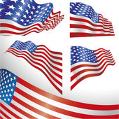 USA windy flags — Vetorial Stock