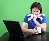 Man work with laptop — Stock Photo