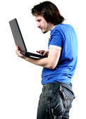 Isolated man work with laptop — Stock Photo