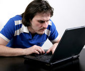 Man work with laptop — Stock Photo