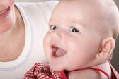 Smiling newborn baby — Foto Stock