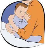 Baby bij moeders handen — Stockvector
