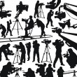 Stock Vector: Cameramen and camcorders