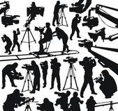 Kameramanlar ve video kameralar — Stok Vektör