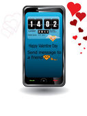 Touchscreen mobile for Valentine Day — Stock Vector