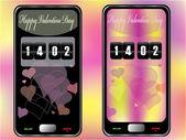 触摸屏手机的情人节 — 图库矢量图片