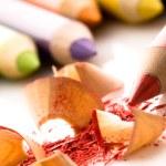 Sharpened pencils and wood shavings — Stock Photo #4647345