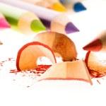 Sharpened pencils and wood shavings — Stock Photo