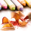 Sharpened pencils and wood shavings — ストック写真