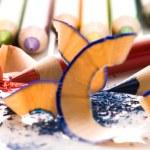 Sharpened pencils and wood shavings — Stock Photo #4648533