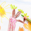 Pencil and child drawing. sun — Stock Photo #4648570