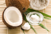 Coconut and coconut oil — Stock Photo