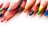 Coleção de canetas coloridas sobre fundo branco — Fotografia Stock