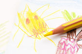 Pencil and child drawing. sun — Stock Photo