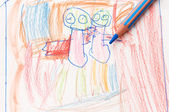 Pencil and child drawing — Stock Photo