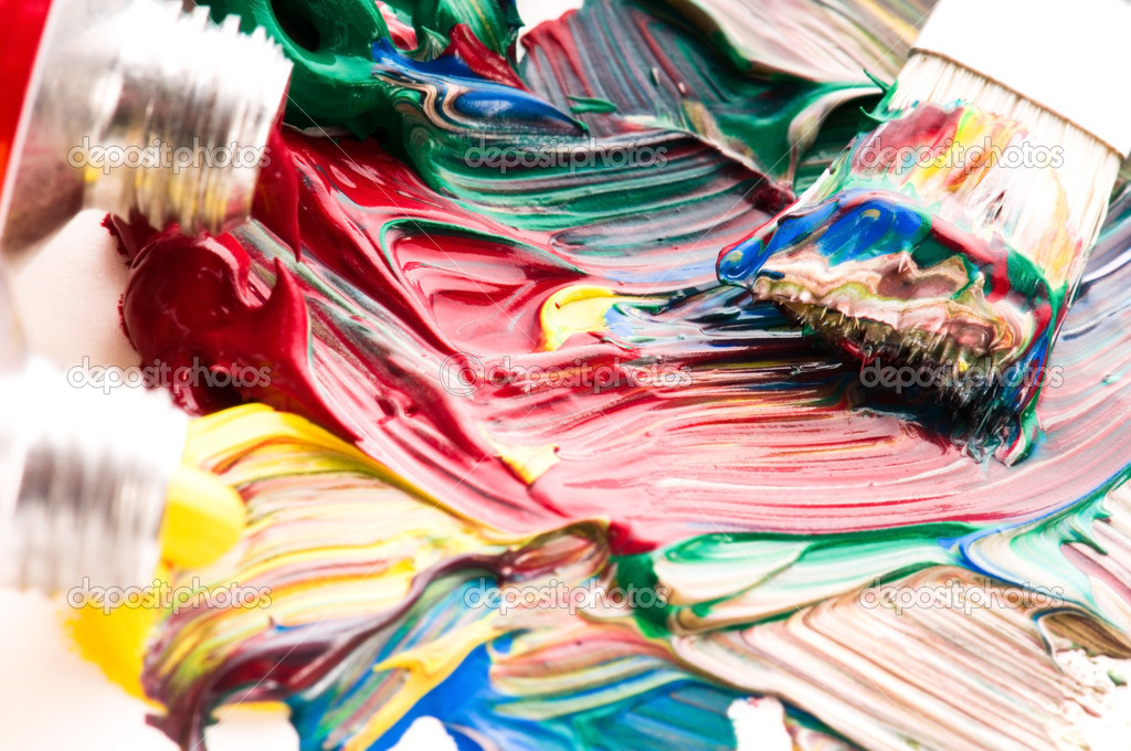 Brush mixing paint on palette  — Stock Photo #4647201