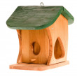 Wooden birdhouse isolated on the white - Stock Photo