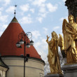 Angel statues at Zagreb cathedral, Croatia — Stock Photo