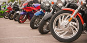 Motorcycles Parking In A Row — Stock Photo
