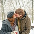 Kissing Couple While Snowing — Stock Photo #4750948