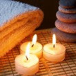 Candles, Stones And Towel — Stock Photo
