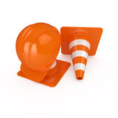 Road warning cone and helmet — Stock Photo