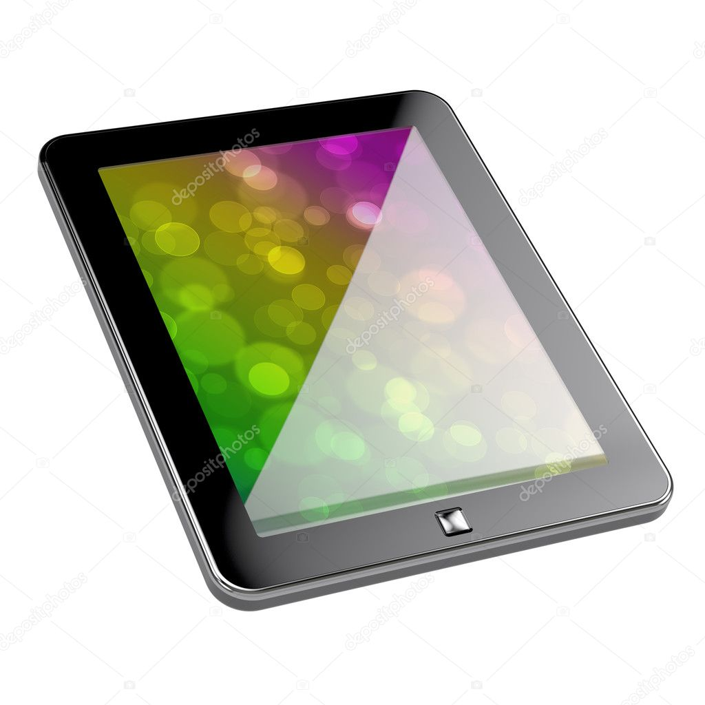 3d render of pc tablet with clipping path on white background — Stock Photo #4810491