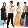 Young ladies and gentleman in classic clothes — Stock Photo