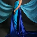 Woman on blue — Stock Photo