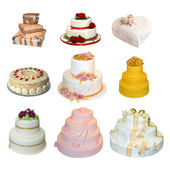 Collection of various types of wedding cakes — Stockfoto