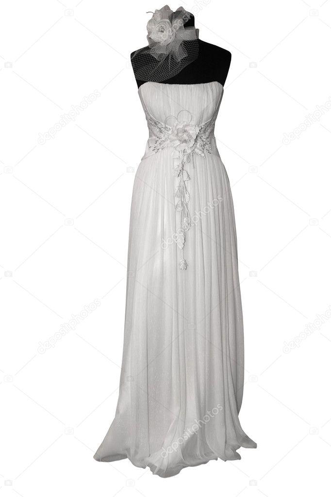 Wedding Dress On Mannequin Isolated On White Stock Photo C Gsermek 4963362