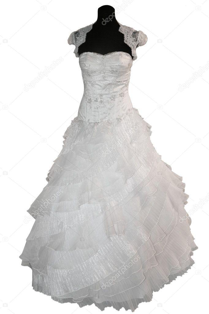 Wedding Dress On Mannequin Isolated On White Stock Photo C Gsermek 4963372