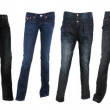 Collection of various types of blue jeans trousers — Stock Photo #5212374