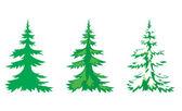 Vector set of 3 fir-trees — Stock Vector