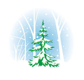 Vector wintery illustration with fir-tree — Stock Vector