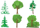 Set of vector green trees — Stock Vector