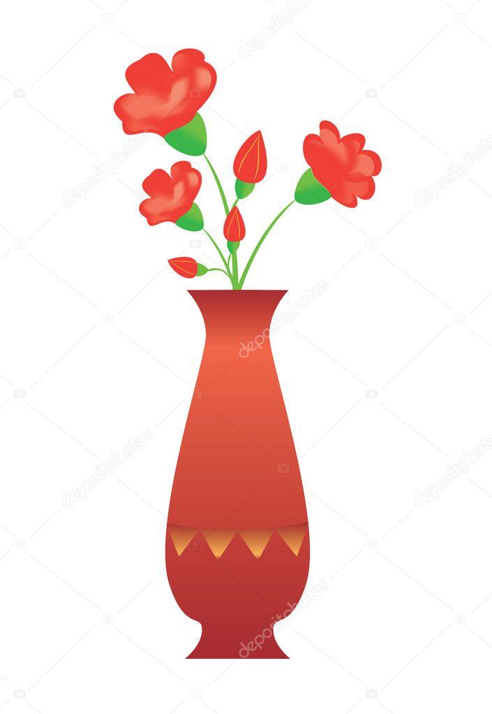 jarrn alto de vector con flores rojas u archivo imgenes vectoriales