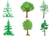 Set of vector green and white trees — Stock Vector