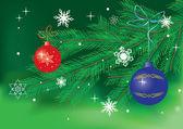 Вектор Зеленая карта с рождества декор — Cтоковый вектор