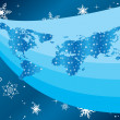 Vector winter illustration with map of the world — Stock Vector #4247529